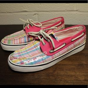 🚤 Sperry Top Sider Boat Shoe Size 7.5 Plaid Pink